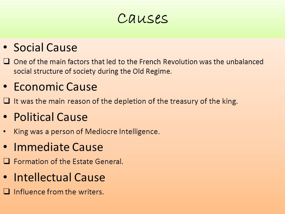 an analysis of the causes and effects of the french revolution These are flash cards for the causes and effects of major events during the french revolution as described in barron's ap european history test pr.