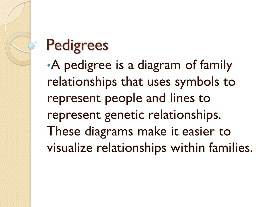 Pedigrees a pedigree is a diagram of family relationships that uses pedigrees a pedigree is a diagram of family relationships that uses symbols to represent people and lines to represent genetic relationships these ccuart Choice Image