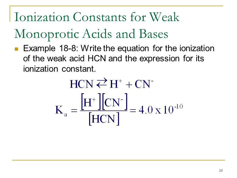 dissociation constants weak monoprotic acids were determin Based on theories of diffusion-controlled mass transport for dissolution processes of weak acids in aqueous alkaline media, a method for the determination of the dissociation constant of a weak monoprotic acid is described.