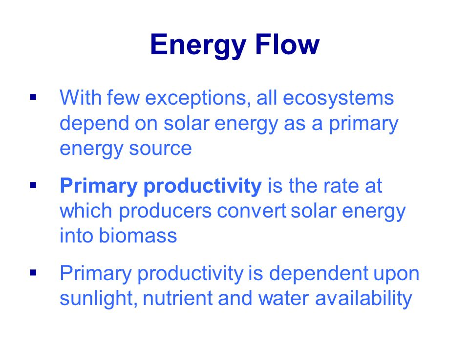 Energy Flow With few exceptions, all ecosystems depend on solar energy as a primary energy source.