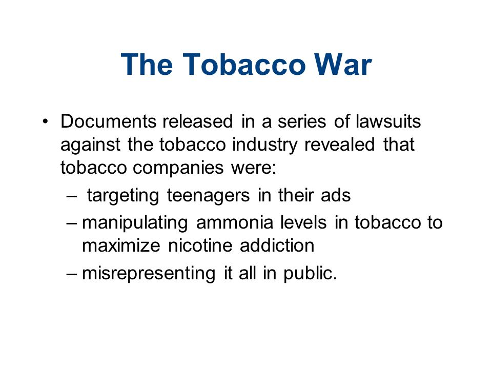 lawsuit against the tobacco industry essay Free essay: abstract since the first major lawsuit settled against tobacco companies in 1998, there has been much controversy over whether or not these.