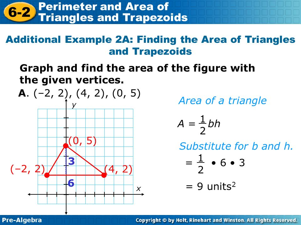 6 2 warm up problem of the day lesson presentation ppt video additional example 2a finding the area of triangles and trapezoids ccuart Images