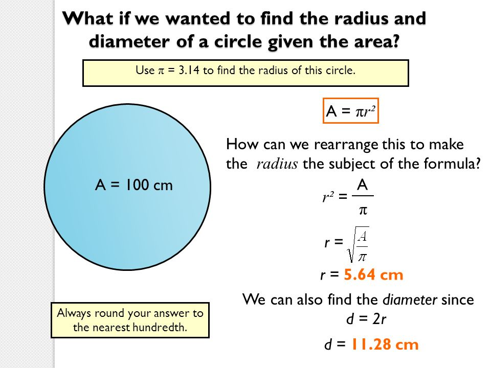 how to work out the radius of a circle