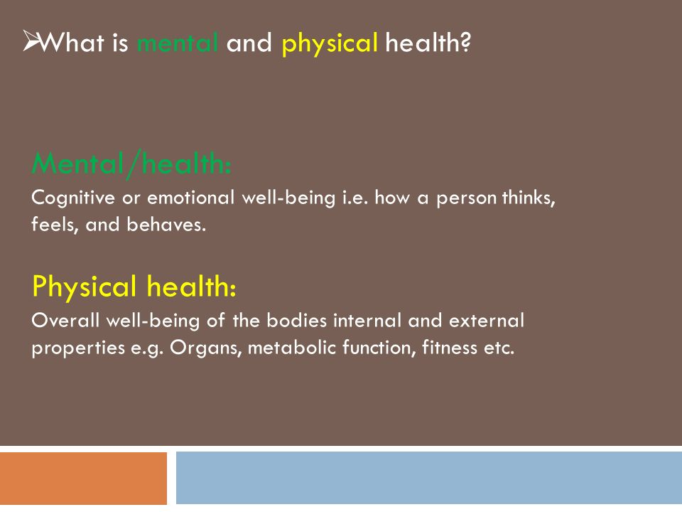 physical and mental health The health triangle -social health -mental/emotional health -physical health learn with flashcards, games, and more — for free.