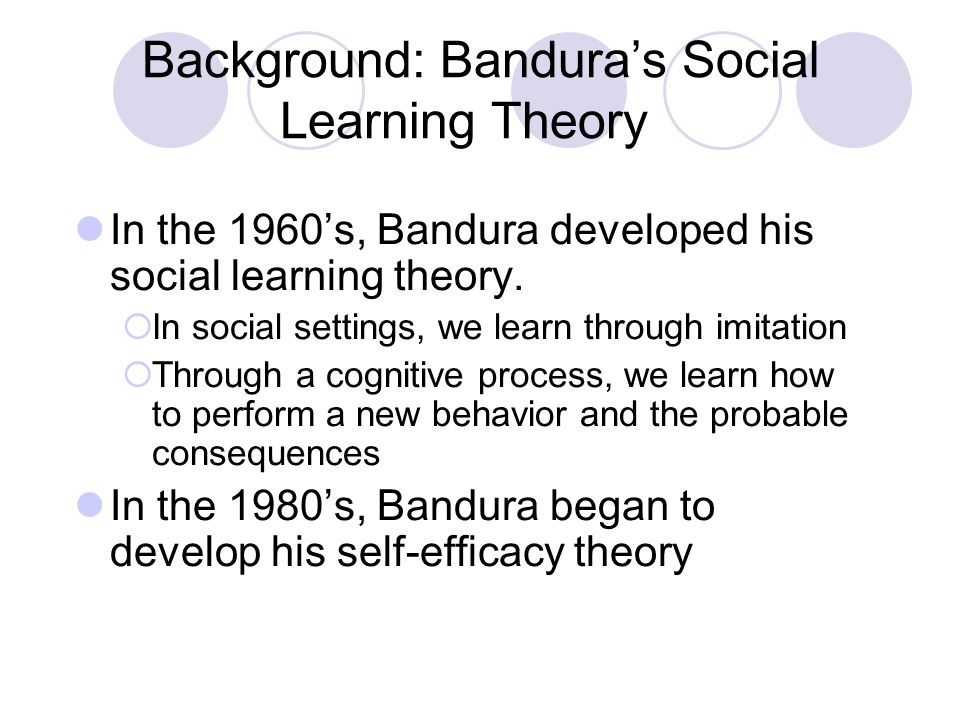 bandura and social learning theory It's been said that albert bandura's theory of social learning spans the gap between behaviourism and cognitivismsocial learning theory incorporates the idea of behaviour reinforcement from the former, and cognitive processes such as attention, motivation and memory from the latter.