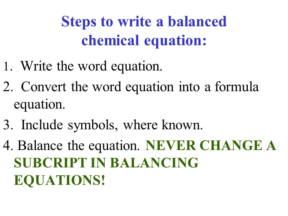 write and balance equations for the following reactions Writing chemical equations  balance each of the following equations: 1  reactions and complete and balance each equation.