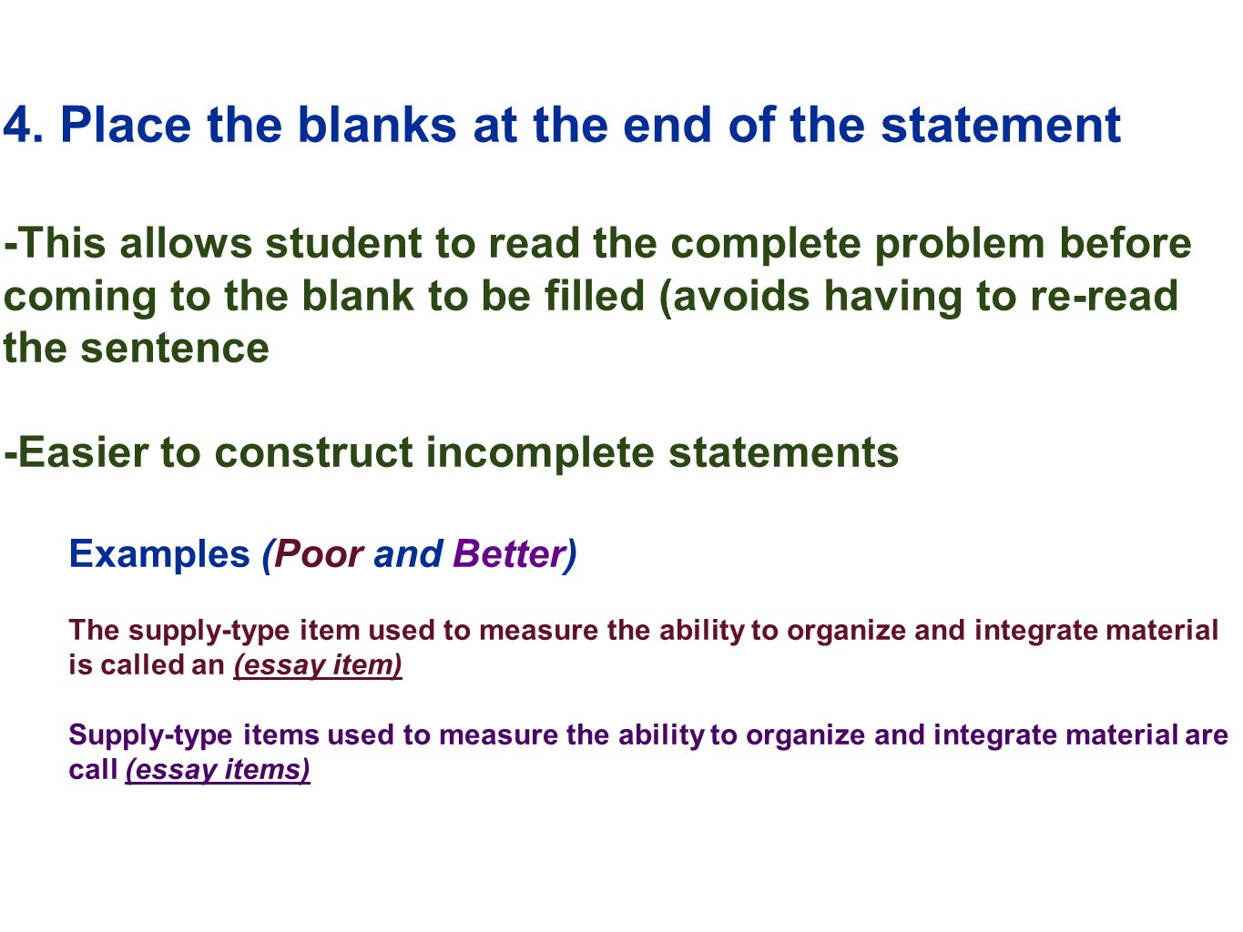 edu session writing supply items short answer and essay  15 4
