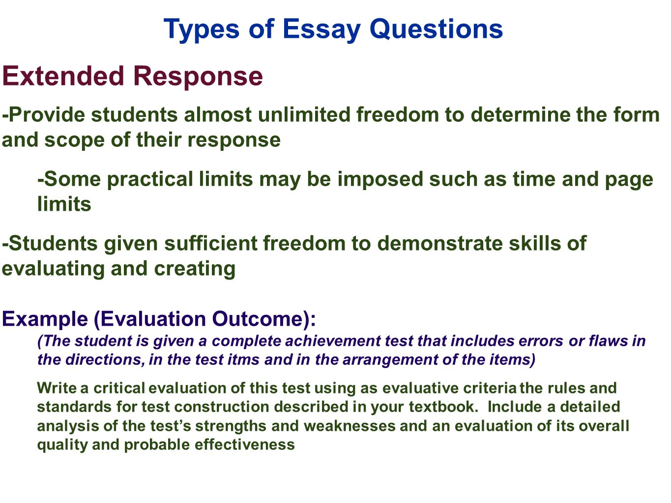 essay short answer Exam questions: types, characteristics, and suggestions   matching, 4) short answer, 5) essay, 6)  exam questions: types, characteristics and suggestions.