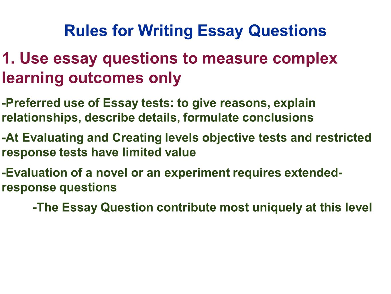 constructing essay test Items such as short answer or essay typically require a test taker to write a response to fulfill the requirements of the item in administrative terms.