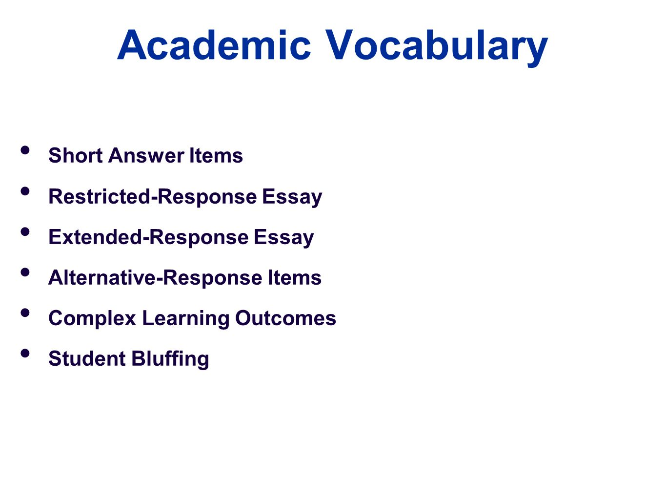 test and essay items Review these sample essay questions and answers before you write you college   to test your skills at problem-solving and check how up-to-date you are on.