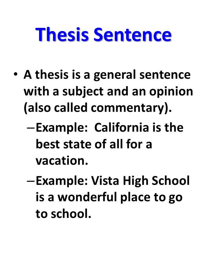 thesis sentense