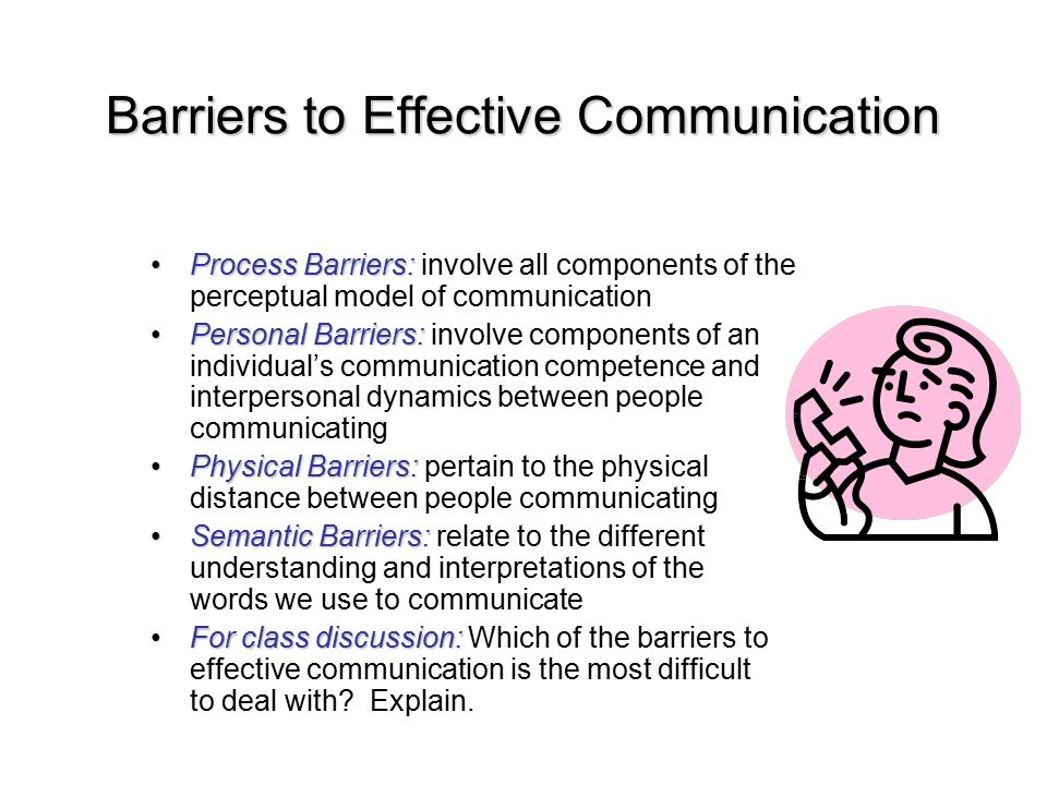 communication skills process and barriers Communication skills are critical for managers barriers to communication for managers accessed april 20 5 steps to the communication process in the workplace.