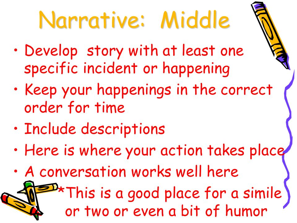 organization clarity ppt narrative middle develop story at least one specific incident or happening keep your
