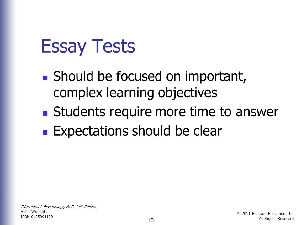 classroom assessment grading and standardized testing ppt  essay tests should be focused on important complex learning objectives students require more time