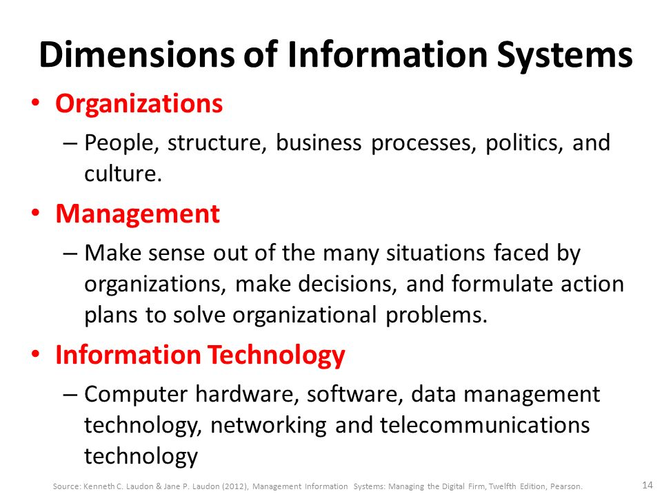 information system business problem dimensions Three dimensions of business problems are organization, technological, and people dimensions organization dimension include outdated business processes, unsupportive culture and attitudes, political conflict, turbulent business environment, change, complexity of task, and inadequate resources (essentials of management information systems, p22.