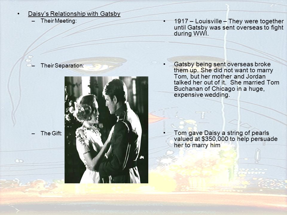 daisy and tom relationship in the The relationships among the characters in the book the great gatsby and the value of money visualize the relationships in the tom, and daisy 's.