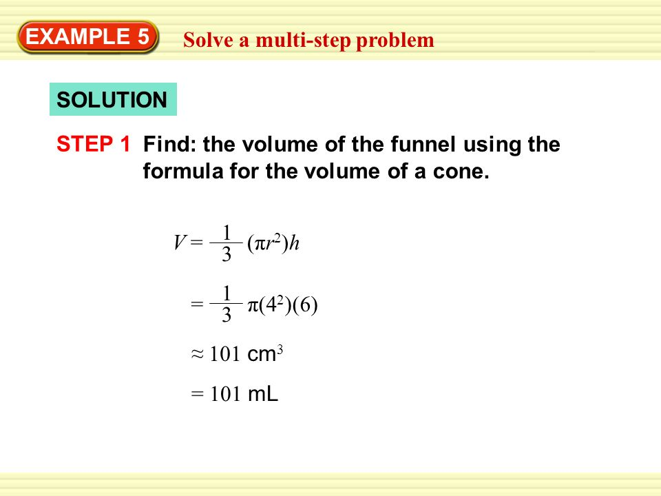 how to write the answer for volume