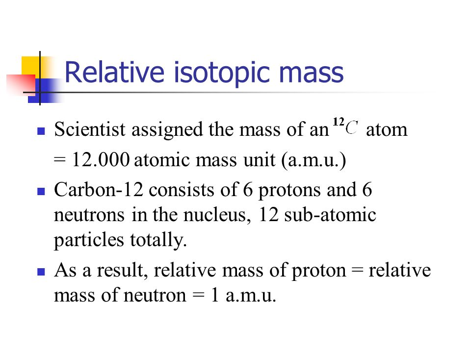 isotopes sub atomic particles and relative atomic 12 isotopes learning outcomes: sub-atomic particles 1) particles relative mass relative charge charge / c protons.