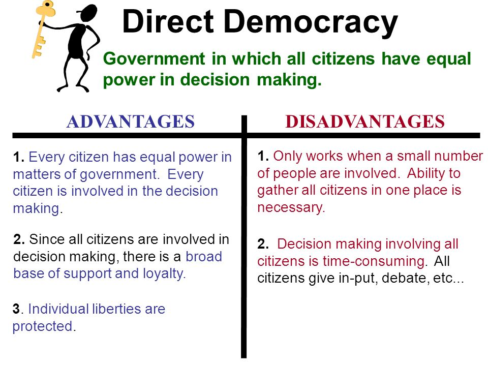 democracy advantage and dis advantage List of advantages of democracy 1 it protects the interest of citizens as previously stated, the citizens in a democratic country are given the right to vote on political, social and.