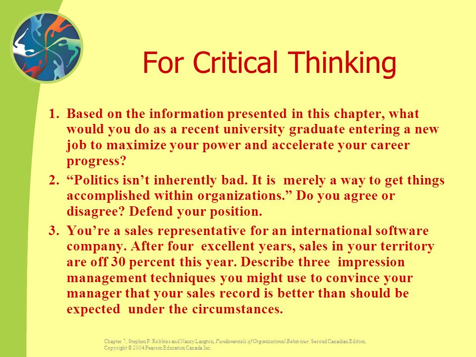 critical thinking chapter exercises 1 chapter 1: reasoning and critical thinking 11 reasoning it is important to distinguish mere thinking, ie a sequence of unrelated thoughts, from reasoning.