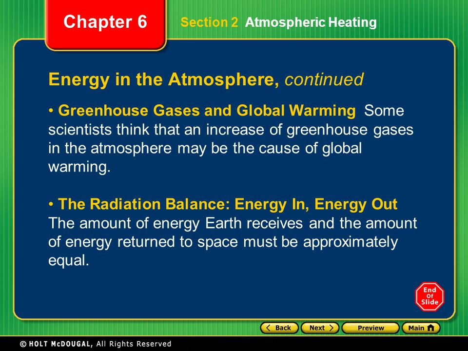 Energy in the Atmosphere, continued