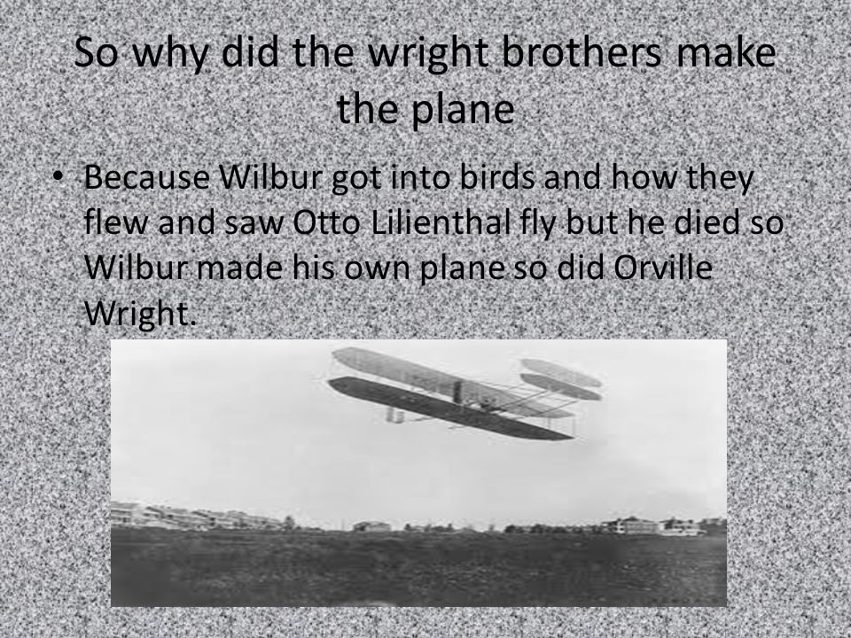 the wright brothers and why they When the brothers observed soaring birds, they noticed that birds change the shape of their wings as they glide wilbur wright had an extremely important insight about aircraft: learning to fly: the wright brothers' adventure eg-2002-12-007-grc in.