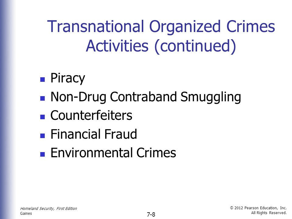 transnational organized crime Handbook of transnational crime  reports on the results of a survey that describes current identification and response strategies to transnational organized crime.