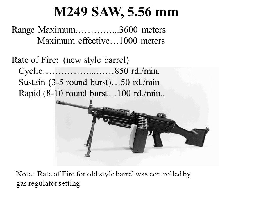 M249 SAW, 5.56 mm Range Maximum…………...3600 meters