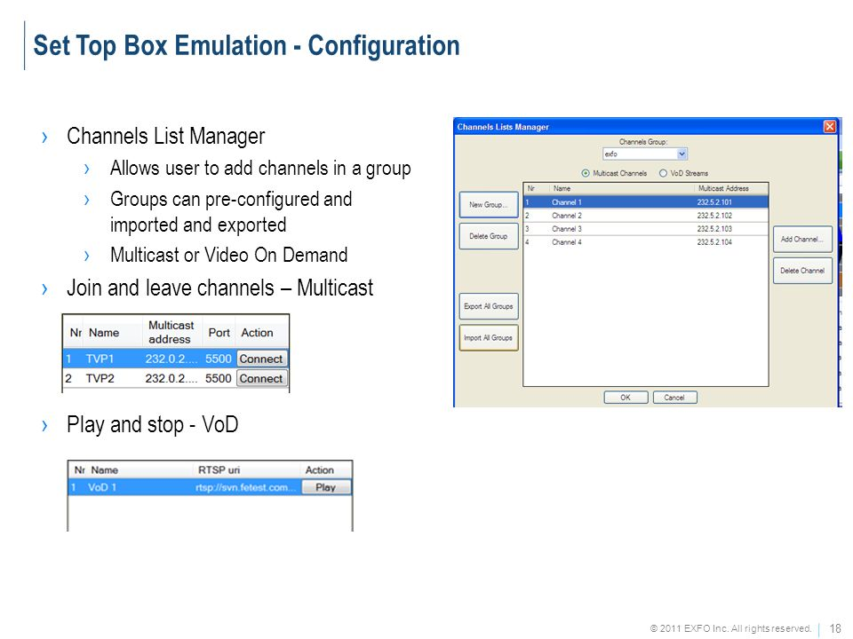 Set Top Box Emulation - Configuration