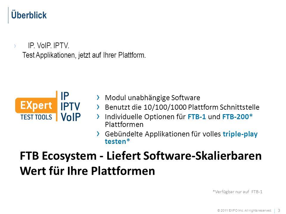 Überblick IP. VoIP. IPTV. Test Applikationen, jetzt auf Ihrer Plattform. Modul unabhängige Software.