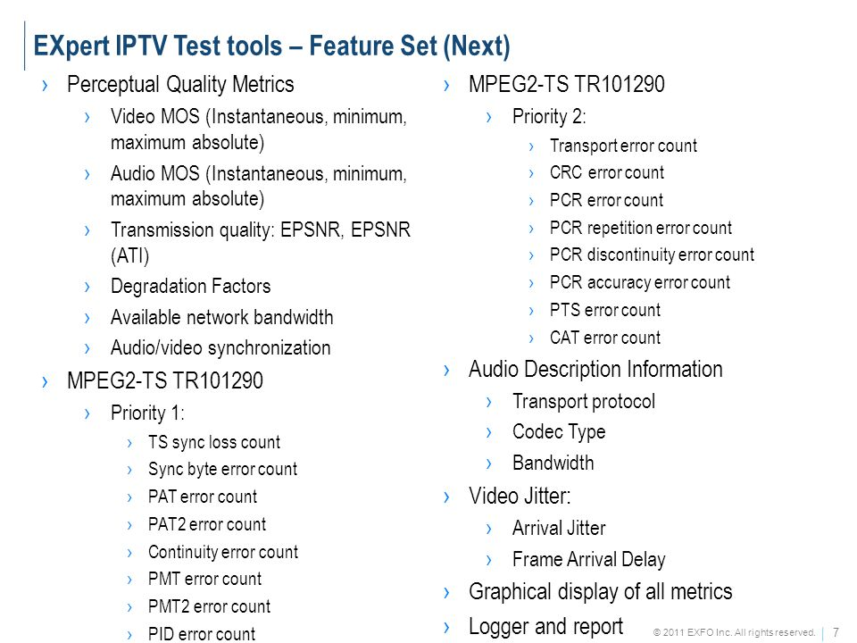 EXpert IPTV Test tools – Feature Set (Next)