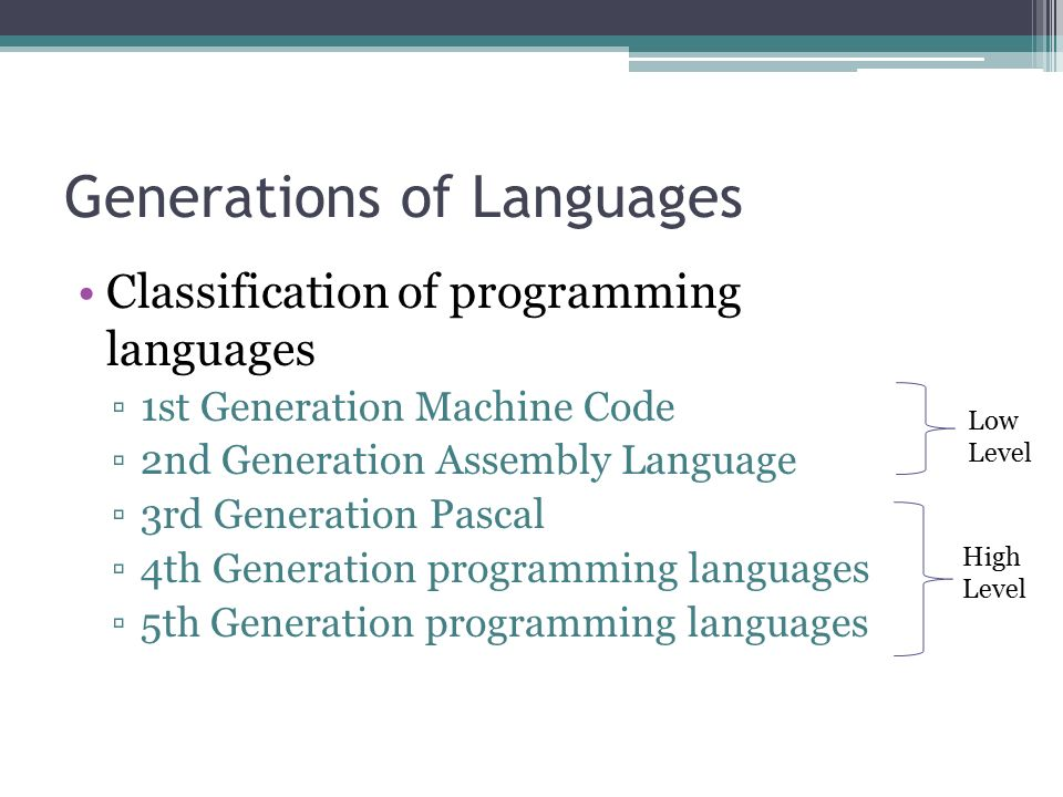 1st generation of programming language essay Read this essay on scomp come browse our  low level programming language  because it is designed closer to the hardware machine language (1st generation).