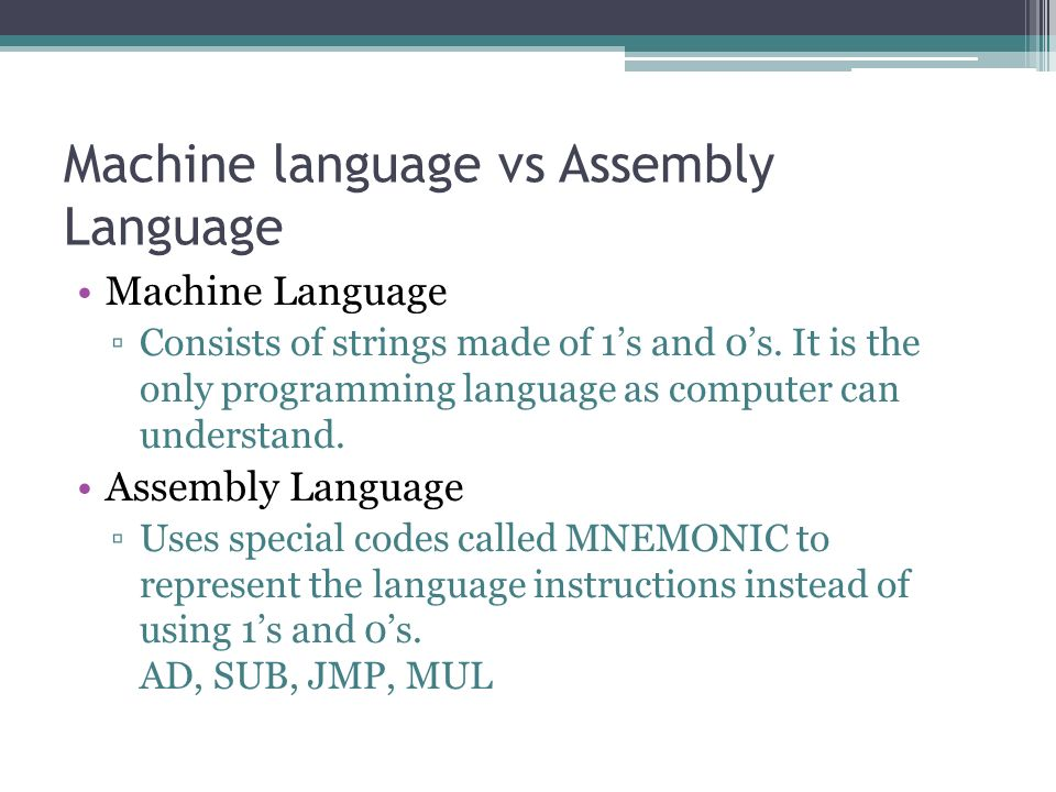 introduction to machine language Beginners introduction to the assembly language of beginners start with learning assembly language don't try to program a mega-machine to start with.