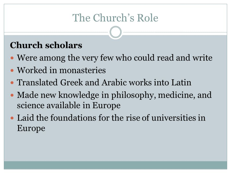 The Church's Role Church scholars