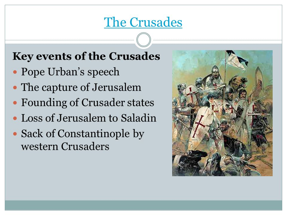 The Crusades Key events of the Crusades Pope Urban's speech