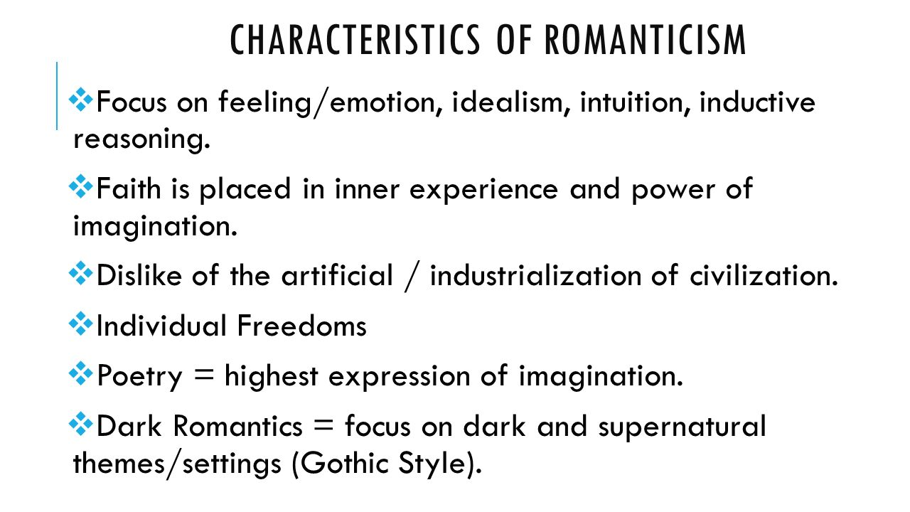 romanticism nature and the individual Romanticism, economic liberalism and political liberalism  new momentum  after the industrial revolution, which to the romantics destroyed nature  it was  also influenced by romanticism in its emphasis on individual freedom and the.