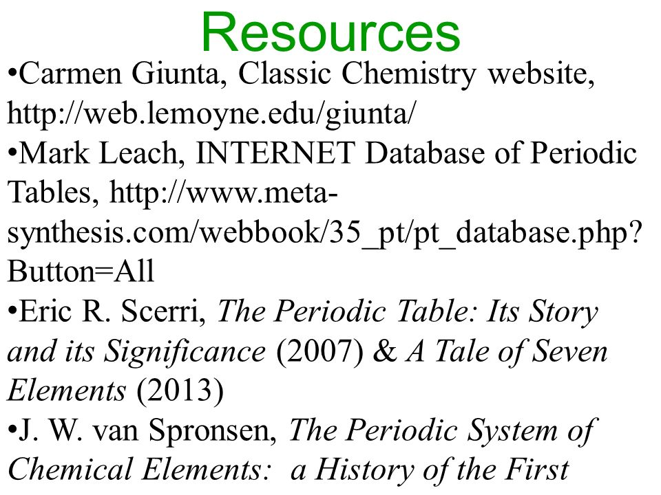 The periodic table highlights from the history of an icon ppt resources carmen giunta classic chemistry website httpweblemoyne urtaz Images