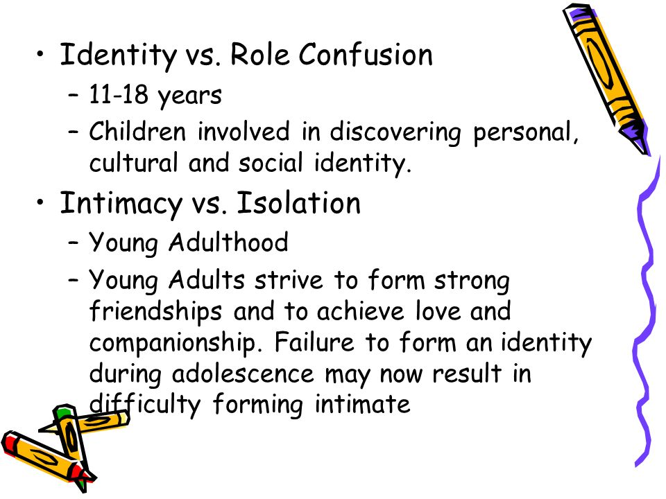 "identity vs identity confusion By using erikson's stages of development these adolescents in the movie show a perfect example of his 5th stage of development: identity vs role confusion ""adolescence is a stage at which we are neither a child nor an adult, life is definitely getting more complex as we attempt to find our own identity, struggle with social interactions."