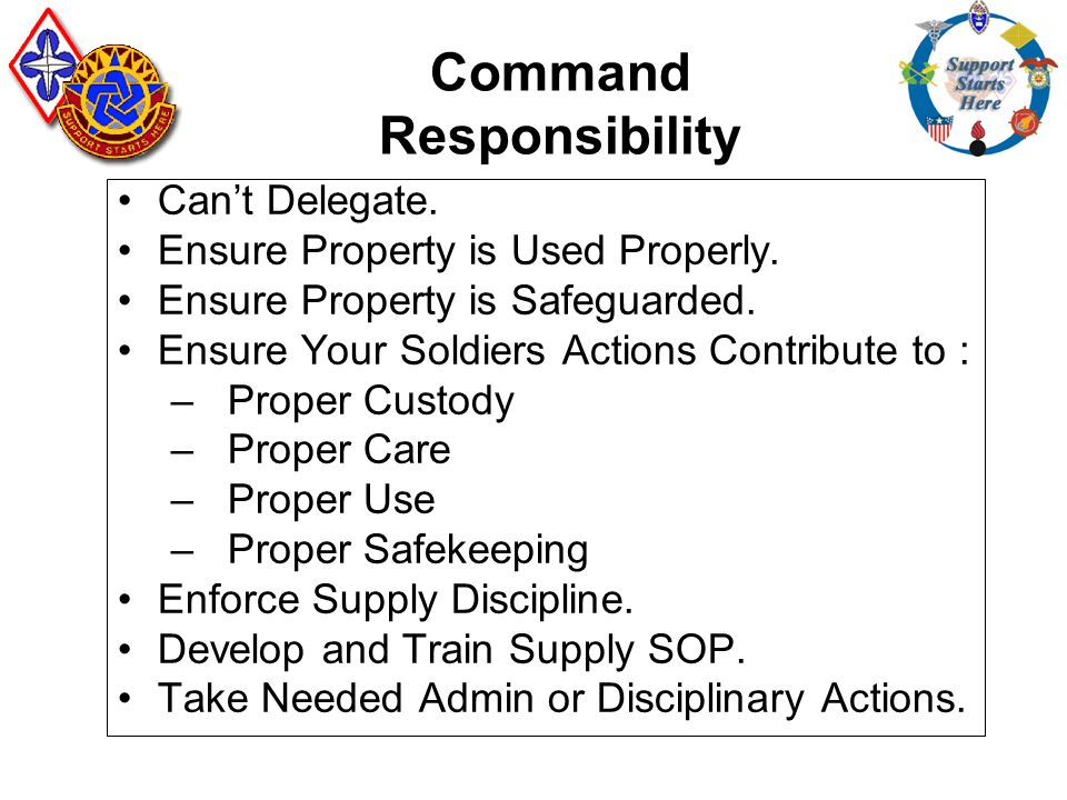 what is command responsibility Command responsibility, sometimes referred to as the yamashita standard or the medina standard, and also known as superior responsibility, is the doctrine of hierarchical accountability in cases of war crimes the term may also be used more broadly to refer to the duty to supervise subordinates.