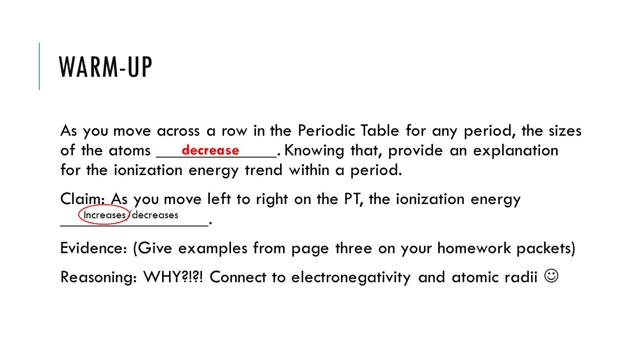 2 warm up - Periodic Table Unit Test
