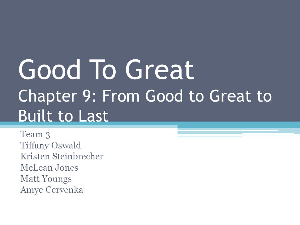 good to great chapter 1