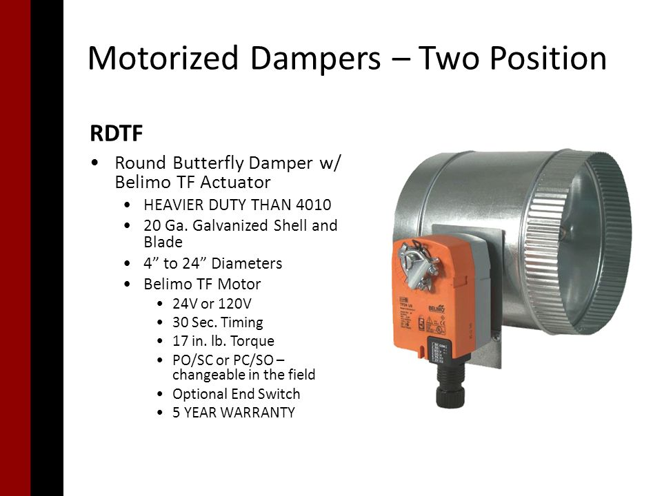 Motorized dampers ppt video online download for Motorized outside air damper