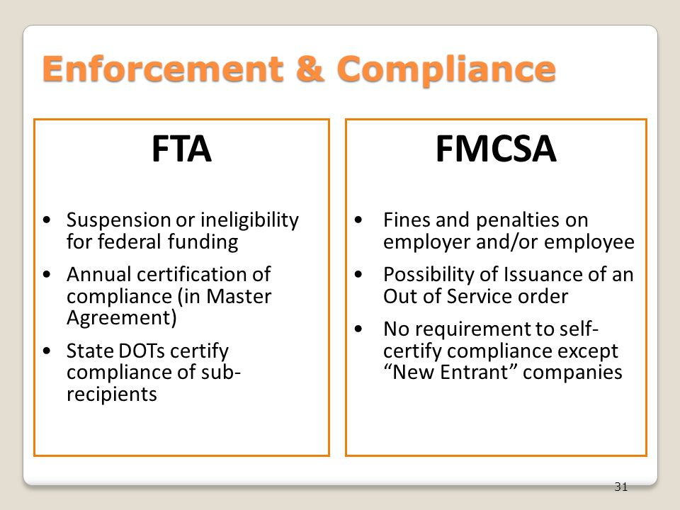 Fta vs fmcsa drug alcohol testing a regulatory for Who is subject to federal motor carrier safety regulations