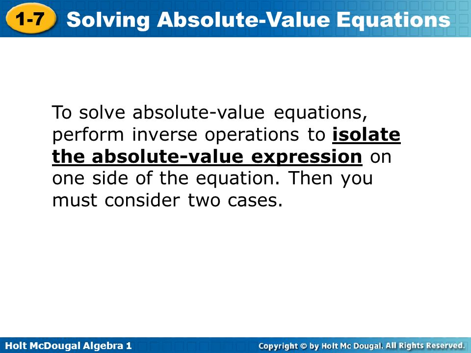 Solving absolute value equations and inequalities