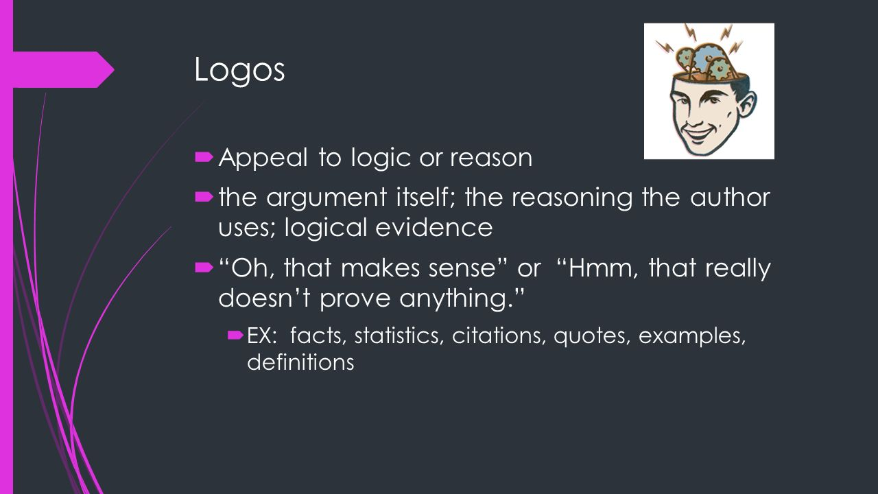 Logos Appeal to logic or reason