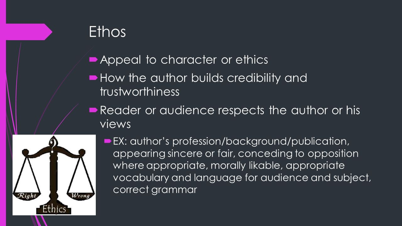 Ethos Appeal to character or ethics