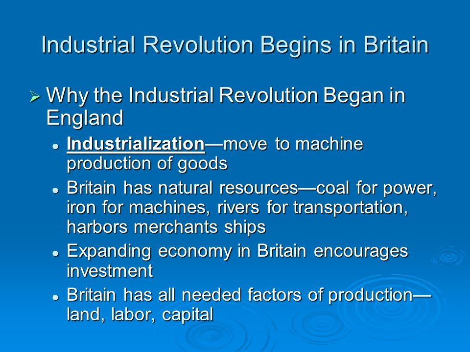 the factors that hyped up the industrial revolution (→ industrial production & steam power) steam power people like james watt produced effective steam engines powered by coal that made industrial and agricultural machines run more quickly and which led to the development of steam trains.