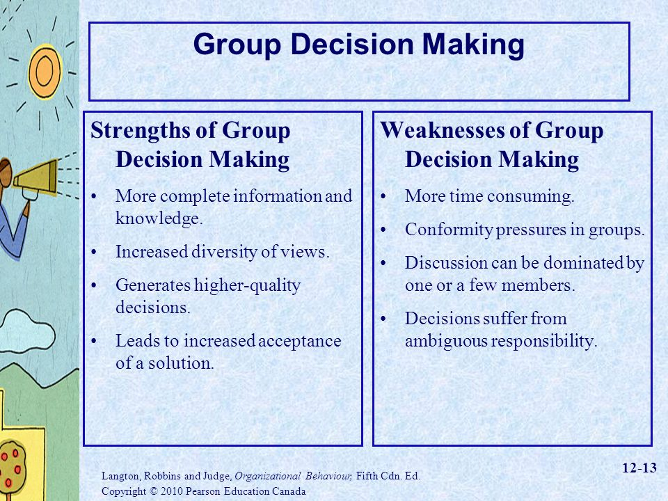 strengths and weakness of decision making An assessment of five different theoretical frameworks to view it as a process of decision-making by individuals that requires cognition followed by a discussion of its strengths and weaknesses by strengths and.