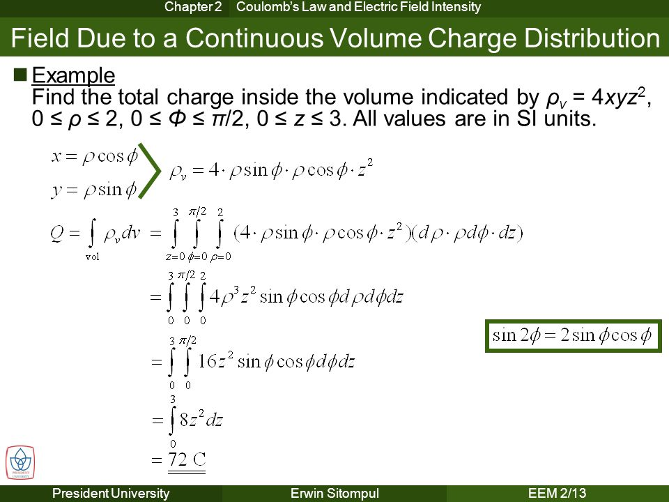 The experimental law of coulomb ppt video online download field due to a continuous volume charge distribution ccuart Image collections
