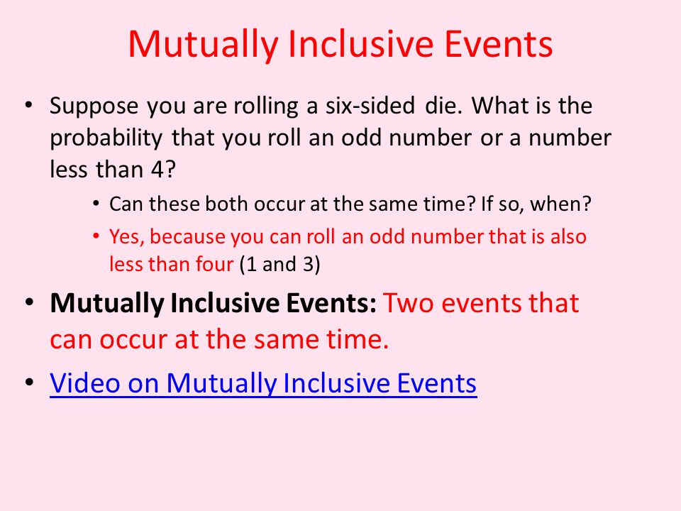 Mutually Inclusive Events